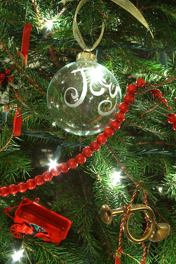 Ornaments on Christmas tree