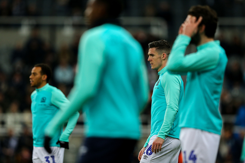 The Blackburn Rovers defence go through their paces during the warm up<br /> <br /> Photographer Alex Dodd/CameraSport<br /> <br /> Emirates FA Cup Third Round - Newcastle United v Blackburn Rovers - Saturday 5th January 2019 - St James' Park - Newcastle<br />  <br /> World Copyright © 2019 CameraSport. All rights reserved. 43 Linden Ave. Countesthorpe. Leicester. England. LE8 5PG - Tel: +44 (0) 116 277 4147 - admin@camerasport.com - www.camerasport.com