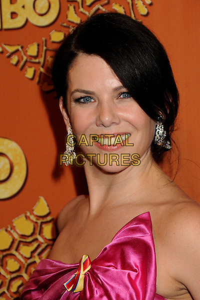 LAUREN GRAHAM.HBO's 2010 67th Golden Globe Awards Post Party held at the Beverly Hilton Hotel, Beverly Hills, California, USA..January 17th, 2009.globes headshot portrait dangling diamond earrings pink silk satin strapless  .CAP/ADM/BP.©Byron Purvis/Admedia/Capital Pictures