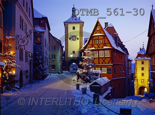 Gerhard, CHRISTMAS LANDSCAPE, photos, D.Weihnachtsabendliches Rothenburg o.T.(DTMB561-30,#XL#) Landschaften, Weihnachten, paisajes, Navidad