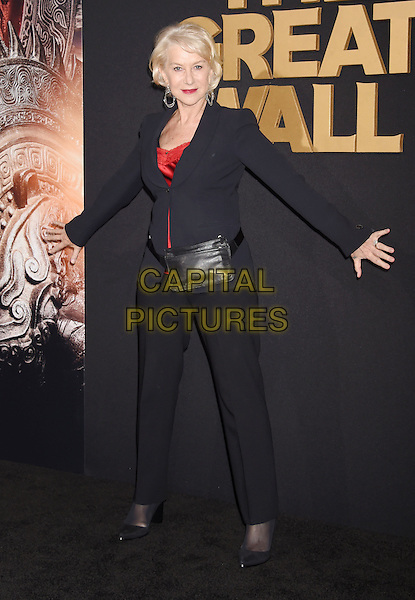 HOLLYWOOD, CA - FEBRUARY 15: Actress Helen Mirren arrives at the premiere of Universal Pictures' 'The Great Wall' at TCL Chinese Theatre IMAX on February 15, 2017 in Hollywood, California.<br /> CAP/ROT/TM<br /> &copy;TM/ROT/Capital Pictures