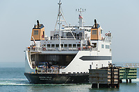 "Steamship Authority ferry ""MV Woods Hole"" to Martha's Vineyard prepares to dock at the Oak Bluffs ferry terminal after arriving from the mainland"
