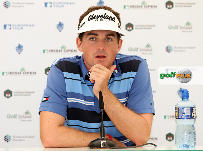 Keegan Bradley in the Interview Room during the Pro Am of the 2012 Irish Open at Royal Portrush Golf Club, Portrush...(Photo Jenny Matthews/www.golffile.ie)