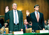 "David A. Vinar, Executive Vice President and Chief Financial Officer, The Goldman Sachs Group, Inc. (GSI), left and Craig W. Broderick, Chief Risk Officer, GSI, right, are sworn-in to testify before the United States Senate Permanent Subcommittee on Investigations hearing on ""Wall Street and the Financial Crisis: The Role of Investment Banks"" using Goldman Sachs as a case study on Tuesday, April 27, 2010. .Credit: Ron Sachs / CNP.(RESTRICTION: NO New York or New Jersey Newspapers or newspapers within a 75 mile radius of New York City)"