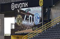 16th May 2020, Signal Iduna Park, Dortmund, Germany; Bundesliga football, Borussia Dortmund versus FC Schalke;  The scoreboard displays the final score of of 4-0 to Borussia Dortmund over FC Schalke 04