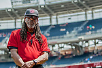 29 April 2017: A Washington Nationals Field Security Guard watches the infield prior to a game against the New York Mets at Nationals Park in Washington, DC. The Mets defeated the Nationals 5-3 to take the second game of their 3-game weekend series. Mandatory Credit: Ed Wolfstein Photo *** RAW (NEF) Image File Available ***