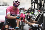 Race leader Maglia Rosa Chris Froome (GBR) and Team Sky toast their historic victory during Stage 21 of the 2018 Giro d'Italia, running 115km around the centre of Rome, Italy. 27th May 2018.<br /> Picture: LaPresse/Fabio Ferrari | Cyclefile<br /> <br /> <br /> All photos usage must carry mandatory copyright credit (&copy; Cyclefile | LaPresse/Fabio Ferrari)