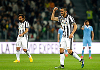 Calcio, Serie A: Juventus vs Lazio. Torino, Juventus Stadium, 18 aprile 2015.<br /> Juventus' Leonardo Bonucci, right, celebrates after scoring during the Italian Serie A football match between Juventus and Lazio at Turin's Juventus Stadium, 18 April 2015.<br /> UPDATE IMAGES PRESS/Isabella Bonotto