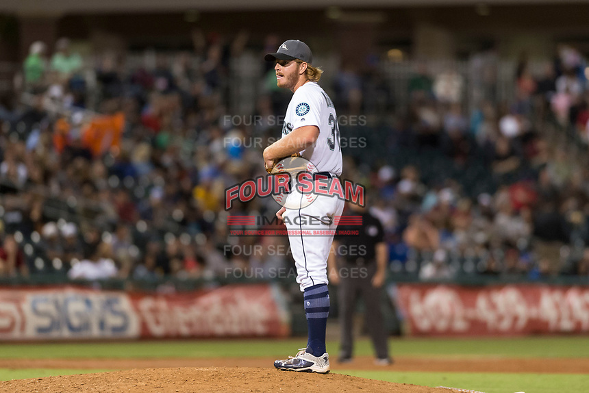 AFL West relief pitcher David McKay (38), of the Peoria Javelinas and Seattle Mariners organization, during the Arizona Fall League Fall Stars game at Surprise Stadium on November 3, 2018 in Surprise, Arizona. The AFL West defeated the AFL East 7-6 . (Zachary Lucy/Four Seam Images)