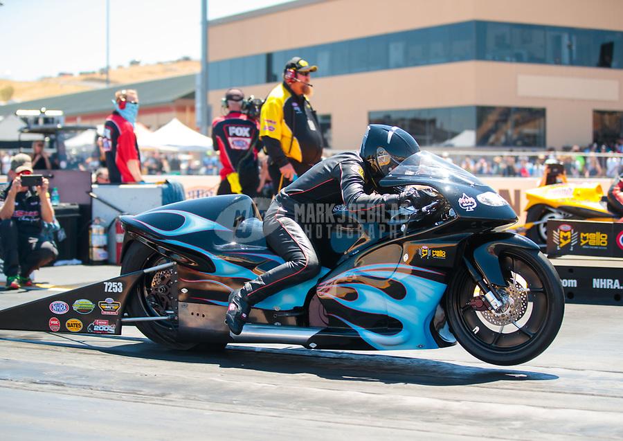 Jul 27, 2019; Sonoma, CA, USA; NHRA pro stock motorcycle rider Jianna Salinas during qualifying for the Sonoma Nationals at Sonoma Raceway. Mandatory Credit: Mark J. Rebilas-USA TODAY Sports