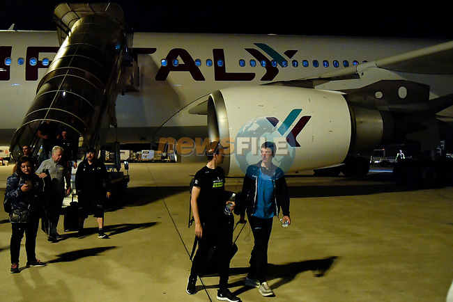Riders and staff arrive at Rome airport after Stage 20 of the 2018 Giro d'Italia,  Italy. 26th May 2018.<br /> Picture: LaPresse/Marco Alpozzi   Cyclefile<br /> <br /> <br /> All photos usage must carry mandatory copyright credit (© Cyclefile   LaPresse/Marco Alpozzi)