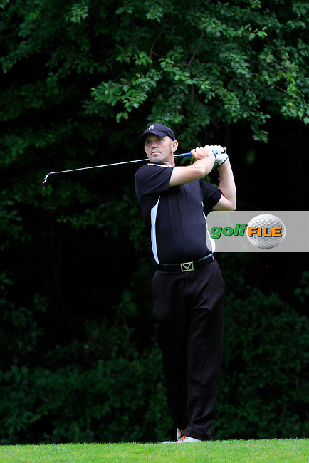 Andrew Thompson (St. Margarets) on the 8th tee during round 2 of the Leinster Mid Amateur Open Championship in Grange Golf Club on Friday 8th August 2014.<br /> Picture:  Thos Caffrey / www.golffile.ie