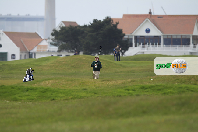Kevin McIntyre (President Golfing Union of Ireland) on the 2nd fairway during the Flogas Irish Amateur Open Championship Am-Am at Royal Dublin on Monday 9th May 2016.<br /> Picture:  Thos Caffrey / www.golffile.ie