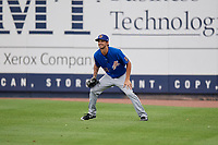 Durham Bulls pitcher Ryan Merritt (55) plays right field during an International League game against the Toledo Mud Hens on July 16, 2019 at Fifth Third Field in Toledo, Ohio.  Durham defeated Toledo 7-1.  (Mike Janes/Four Seam Images)