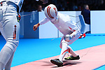 Kazuyasu Minobe (JPN), <br /> AUGUST 19, 2018 - Fencing : <br /> Men's Individual Epee Round of 16 <br /> at Jakarta Convention Center Cendrawasih <br /> during the 2018 Jakarta Palembang Asian Games <br /> in Jakarta, Indonesia. <br /> (Photo by Naoki Nishimura/AFLO SPORT)