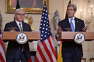 Washington, DC - March 11, 2015: U.S. Secretary of State John Kerry (r) and German Foreign Minister Frank-Walter Steinmeier speak to members of the media in the Ben Franklin Room at the Department of State, March 11, 2015.   (Photo by Don Baxter/Media Images International)