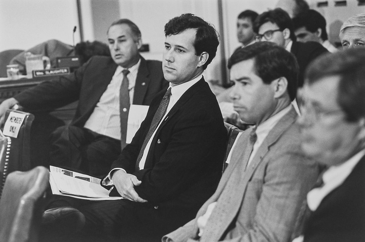 Rep. Bryan R. Holloway, R-N.C., Sen. Rick Santorum, R-Pa., Rep. Joe Walsh, R-Ill., and Rep. Bill Thomas, R-Calif., wait patiently to face Rules Committee during Legislative Appropriation on June 25, 1992. (Photo by Laura Patterson/CQ Roll Call via Getty Images)