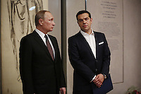 Pictured L-R: Vladimir Putin and Alexis Tsipras Friday 27 May 2016<br /> Re: Russian President Vladimir Putin with Greek Prime Minister Alexis Tsipras at the exhibition opening 'Ascension of the Christ' at the Byzantine Museum, Athens, Greece