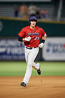 Jacksonville Jumbo Shrimp left fielder Peter O'Brien (27) rounds the bases after hitting a home run in the bottom of the fourth inning during a game against the Biloxi Shuckers on June 8, 2018 at Baseball Grounds of Jacksonville in Jacksonville, Florida.  Biloxi defeated Jacksonville 5-3.  (Mike Janes/Four Seam Images)
