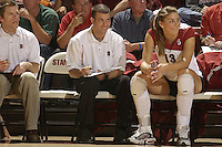 28 October 2005: Jason Mansfield with Lizzy Suiter during Stanford's 3-0 win over Oregon State in Stanford, CA.