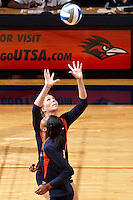 SAN ANTONIO, TX - SEPTEMBER 25, 2010: The Texas State University Bobcats vs. the University of Texas at San Antonio Roadrunners Women's Volleyball at the UTSA Convocation Center. (Photo by Jeff Huehn)