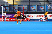 Barry Middleton opens the scoring for England during the Hockey World League Semi-Final Pool A match between England and Malaysia at the Olympic Park, London, England on 17 June 2017. Photo by Steve McCarthy.