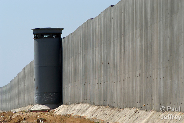 An 8-meter high concrete wall surrounds the West Bank town of Qalqilya, part of the Israelis' separation barrier.