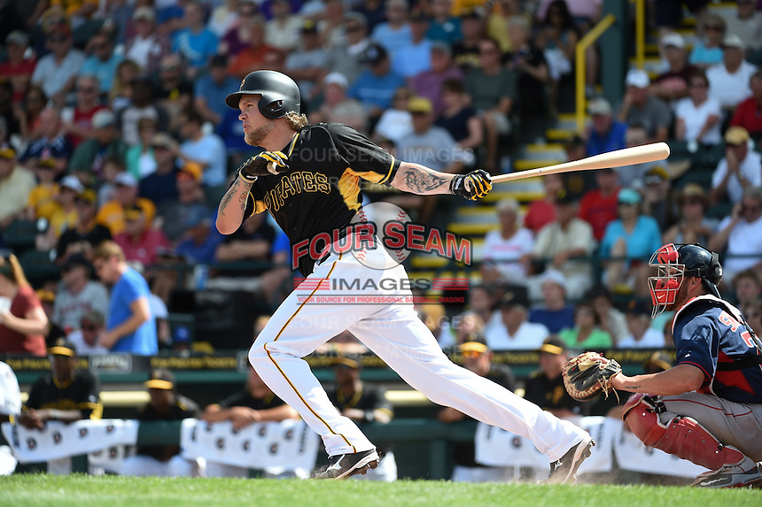 Pittsburgh Pirates outfielder Corey Hart (12) during a Spring Training game against the Boston Red Sox on March 12, 2015 at McKechnie Field in Bradenton, Florida.  Boston defeated Pittsburgh 5-1.  (Mike Janes/Four Seam Images)