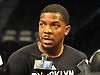 Joe Johnson #7 of the Brooklyn Nets speaks to the media during a team shootaround at Barclays Center on Monday, Jan. 11, 2016.