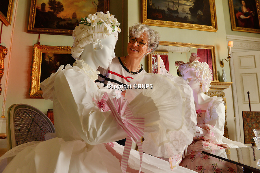"BNPS.co.uk (01202 558833)<br /> Pic: ZacharyCulpin/BNPS<br /> <br /> Denise applies the finishing touches to one of the stunning paper dresses. <br /> <br /> Ori-garments -  Artist Denise Watson has created a stunning 1750's masquerade Christmas Ball with characters made entirely from paper at the National Trust's Uppark House in West Sussex.<br /> <br /> Denise has dressed 14 shop mannequins with clothes, shoes, masks, fans, floral details, hair and even jewellery made from things like tissue paper, gift wrap and brown parcel paper. <br /> <br /> The festive display was inspired by Admiral Lord Gambier's memoirs in which he quotes from Lady Sarah Featherstonhaugh's journal of 1753 where she wrote: "" The whole party afterwards proceed to Uppark, where they passed a cheerful happy Christmas in the most friendly society, and enlivened their neighbourhood with some masked balls.""<br />  <br /> The design to the finished result took a total of three months. Denise said, ""I am really delighted with the final result. It has been a joy to work at Uppark using the grand rooms and to recreate an event which actually took place""."