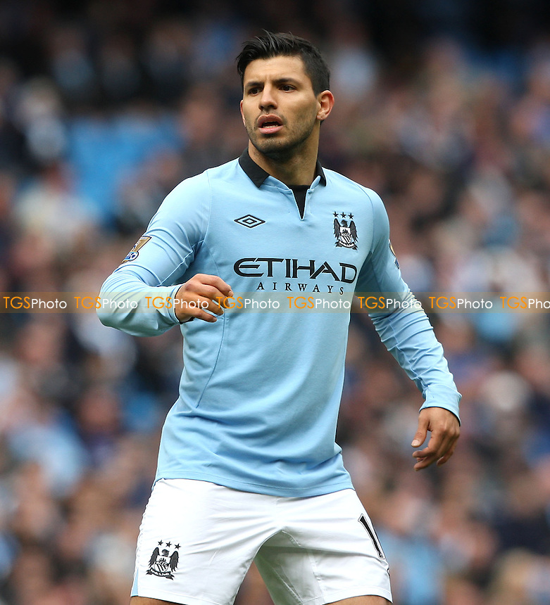 Sergio Aguero of Man City - Manchester City vs West Ham United, Barclays Premier League at the Etihad Stadium, Manchester - 27/04/13 - MANDATORY CREDIT: Rob Newell/TGSPHOTO - Self billing applies where appropriate - 0845 094 6026 - contact@tgsphoto.co.uk - NO UNPAID USE.