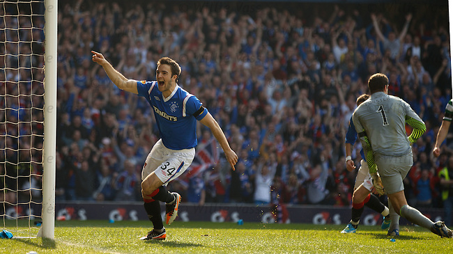 Andy Little watches his shot hit the back of the net as Rangers go 2-0 up