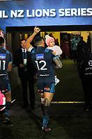 Sonny Bill Williams walks in with his daughter Imaan after the 2017 DHL Lions Series rugby union match between the Blues and British & Irish Lions at Eden Park in Auckland, New Zealand on Wednesday, 7 June 2017. Photo: Dave Lintott / lintottphoto.co.nz