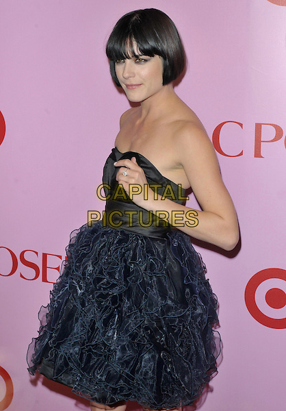 SELMA BLAIR .Zac Posen For Target Collection Launch held at the New Yorker Hotel, New York, NY, USA, 15th April 2010..half length black strapless navy blue ruffles ruffle dress hand side  fringe bob .CAP/ADM/BM.©Bill Menzel/AdMedia/Capital Pictures.