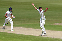 Josh Tongue of Worcestershire claims the wicket of Daniel Lawrence during Worcestershire CCC vs Essex CCC, Specsavers County Championship Division 1 Cricket at New Road on 13th May 2018