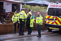 Pictured: Emergency services personnel on stand by at Tafarn y Gerreg in Powys, Wales UK. Wednesday 29 June 2016<br />