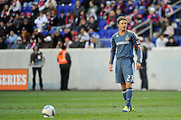 David Beckham (23) of the Los Angeles Galaxy during the 1st leg of the Major League Soccer (MLS) Western Conference Semifinals at Red Bull Arena in Harrison, NJ, on October 30, 2011.