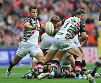 London, England. Danny Care of Harlequins clears the ball during the Saracens and Harlequins Aviva Premiership with a world record crowd of 83,761 for a club rugby match at Wembley Stadium. 31March 2012 at Wembley Stadium, London, England,
