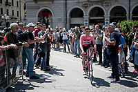 Maglia Rosa / overall leader Valerio Conti (ITA/UAE-Emirates) at the race start<br /> <br /> Stage 12: Cuneo to Pinerolo (158km)<br /> 102nd Giro d'Italia 2019<br /> <br /> ©kramon
