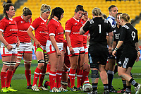 The Canada pack prepares for a scrum during the 2017 International Women's Rugby Series rugby match between the NZ Black Ferns and Canada at Westpac Stadium in Wellington, New Zealand on Friday, 9 June 2017. Photo: Dave Lintott / lintottphoto.co.nz