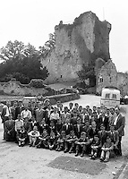 Tourists at Ross castle in the 1950's. The photographers would rush back to the darkroom to process the pictures and sell them later on to the visitors.<br /> Photo: Harry MacMonagle