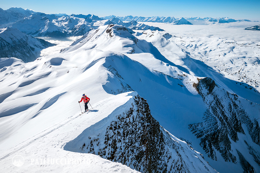 Ski touring on the Faulhorn, in the Berner Oberland, high above Grindelwald, Switzerland