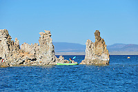 Sept. 5, 2010 - Mono Lake, California, U.S. -  Kayakers paddle near tufa towers on Mono Lake near Lee Vining, California. Mono Lake is a majestic body of water covering about 70 square miles. It is an ancient lake, over 1 million years old -- one of the oldest lakes in North America. It has no outlet and no fish; instead it is home to trillions of brine shrimp and alkali flies. (Photo by Alan Greth/ZUMA Press)