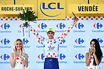 Dion Smith (NZL) Wanty-Groupe Gobert takes over the mountains Polka Dot Jersey at the end of Stage 2 of the 2018 Tour de France running 182.5km from Mouilleron-Saint-Germain to La Roche-sur-Yon, France. 8th July 2018. <br /> Picture: ASO/Alex Broadway | Cyclefile<br /> All photos usage must carry mandatory copyright credit (&copy; Cyclefile | ASO/Alex Broadway)