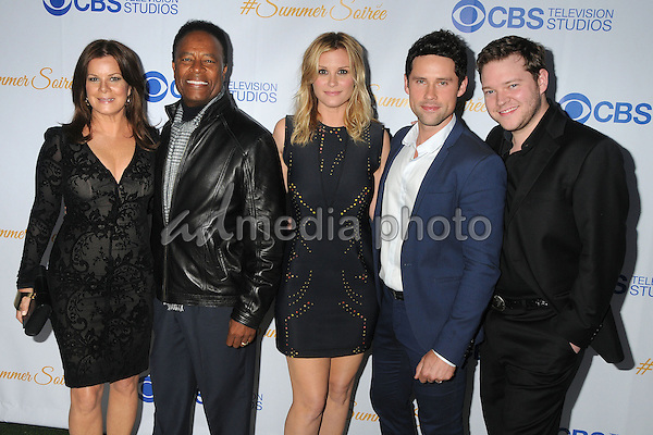 18 May 2015 - West Hollywood, California - Marcia Gay Harden, William Allen Young, Bonnie Somerville, Ben Hollingsworth, Harry Ford. 3rd Annual CBS Television Studios Rooftop Summer Soiree held at The London Hotel. Photo Credit: Byron Purvis/AdMedia