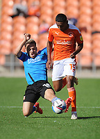 Blackpool's Demetri Mitchell under pressure from Swindon Town's Jack Payne<br /> <br /> Photographer Kevin Barnes/CameraSport<br /> <br /> The EFL Sky Bet League One - Blackpool v Swindon Town - Saturday 19th September 2020 - Bloomfield Road - Blackpool<br /> <br /> World Copyright © 2020 CameraSport. All rights reserved. 43 Linden Ave. Countesthorpe. Leicester. England. LE8 5PG - Tel: +44 (0) 116 277 4147 - admin@camerasport.com - www.camerasport.com