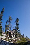 A solitary man carries a hip-mounted pistol and hand-carried shotgun for protection while hiking in North Idaho to Harrison Peak of the Selkirk Range.