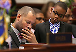 Alexander Ford, 9, watches his dad Nevada Sen. Aaron Ford, D-Las Vegas, work on the Senate floor at the Legislative Building in Carson City, Nev., on Monday, Feb. 2, 2015. (Cathleen Allison/Las Vegas Review-Journal)
