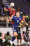 Osako Yuya of Japan (front) fights for the ball with Do Duy Manh of Vietnam (back) during the AFC Asian Cup UAE 2019 Quarter Finals match between Vietnam (VIE) and Japan (JPN) at Al Maktoum Stadium on 24 January 2018 in Dubai, United Arab Emirates. Photo by Marcio Rodrigo Machado / Power Sport Images