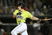 Designated hitter Hayden Senger (15) of the Columbia Fireflies bats in a game against the Charleston RiverDogs on Thursday, April 4, 2019, at Segra Park in Columbia, South Carolina. Charleston won, 2-1. (Tom Priddy/Four Seam Images)